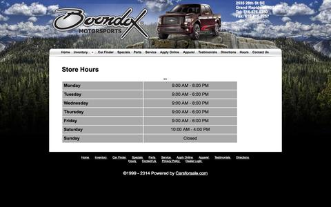 Screenshot of Hours Page boondoxmi.com - Boondox Motorsports - Grand Rapids MI, 49512 - captured Oct. 5, 2014