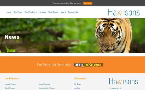 Screenshot of Press Page harrisonsfinance.uk.com - News – Harrisons Finance - captured Sept. 27, 2018
