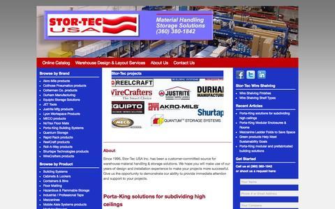 Screenshot of Home Page stor-tec.com - Warehouse, Material Handling & Storage Solutions   Stor-Tec USA - captured Oct. 7, 2014