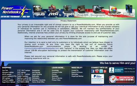 Screenshot of Privacy Page powernotebooks.com - PowerNotebooks.com Privacy Statement - captured Sept. 25, 2014