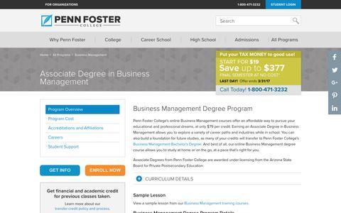 Associate Degree in Business Management | Penn Foster College