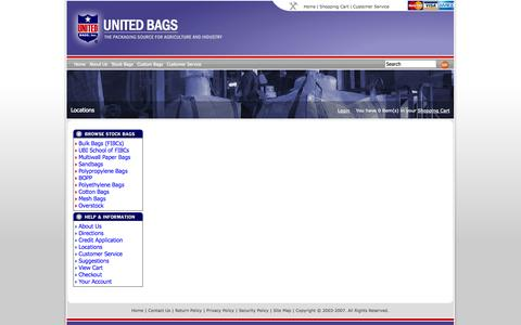 Screenshot of Locations Page unitedbags.com - Locations - captured Oct. 7, 2014
