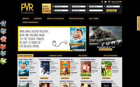 Screenshot of Home Page About Page Privacy Page Contact Page Press Page FAQ Page Login Page Terms Page pvrcinemas.com - PVRCinemas.com - Happy Movie Days! Watch the best of English, Hindi & Regional movies at a PVR near you. - captured Oct. 1, 2014