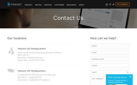 Screenshot of interact-intranet.com - Contact Us | Interact Intranet Software - captured Oct. 2, 2015