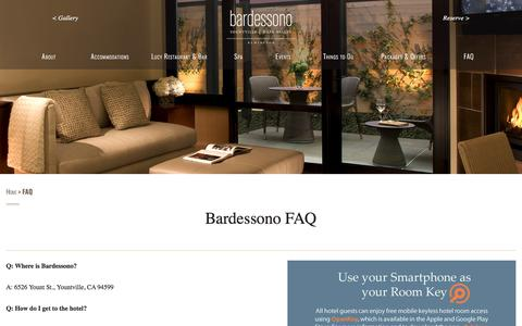 Screenshot of FAQ Page bardessono.com - FAQ - Bardessono - captured July 1, 2017