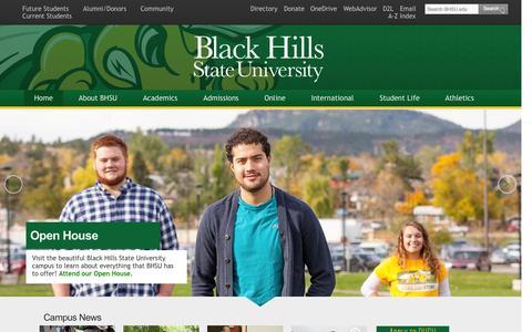 Screenshot of Home Page bhsu.edu - Black Hills State University - Spearfish, South Dakota - captured Nov. 16, 2015