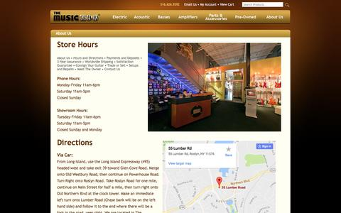 Screenshot of Hours Page themusiczoo.com - Store Hours - captured Aug. 15, 2016