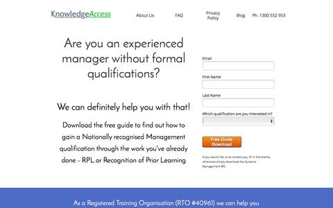 Screenshot of Home Page knowledgeaccess.com.au - RPL for Management qualifications   KnowledgeAccess - captured Jan. 9, 2016
