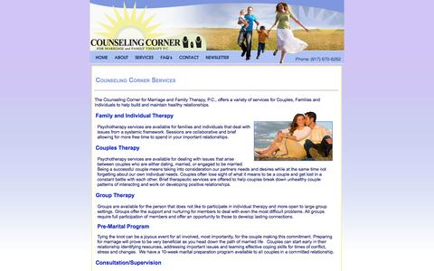 Screenshot of Services Page couplesandfamilies.com - Marriage and Family Counseling New York Long Island Manhattan - captured Oct. 3, 2014