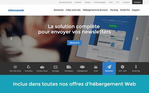 Screenshot of Home Page infomaniak.ch - Hébergement haut de gamme - Site web, messagerie, Serveur Cloud, nom de domaine - Infomaniak - captured Feb. 10, 2016
