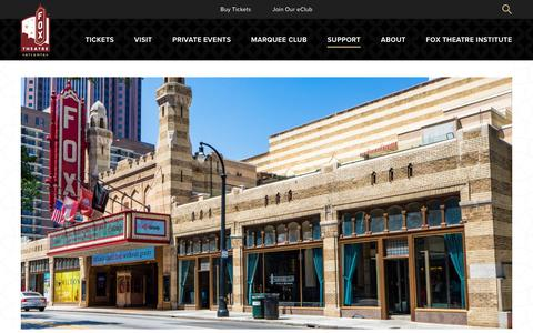 Screenshot of Support Page foxtheatre.org - Fox Theatre Insitute | Fox Theatre - captured Sept. 24, 2018