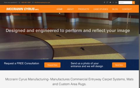 Screenshot of Home Page mccranncyrus.com - Commercial Entryway Carpet Manufacturing Company - captured Nov. 17, 2016