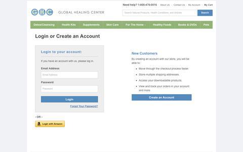 Screenshot of Login Page globalhealingcenter.com - Customer Login - captured Oct. 20, 2015
