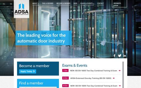 Screenshot of Home Page adsa.org.uk - ADSA - Automatic Door Suppliers Association - captured Oct. 4, 2014
