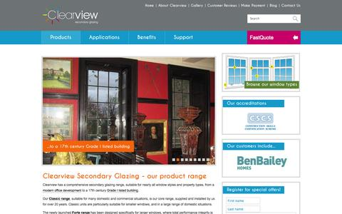 Screenshot of Products Page clearviewsg.co.uk - Clearview secondary glazing - our product range - captured Oct. 30, 2014