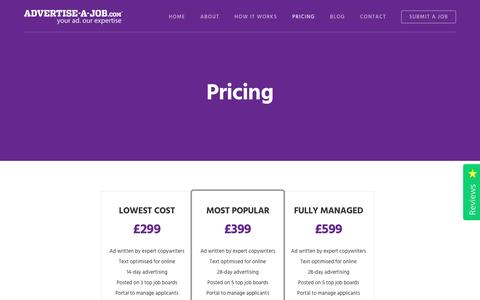 Screenshot of Pricing Page advertise-a-job.com - Pricing - Advertise a Job - Advertise your job from just £299 - captured May 29, 2017