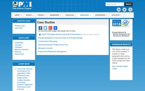 Screenshot of Case Studies Page pmiatlanta.org - PMI Atlanta Chapter - Case Studies - captured Nov. 14, 2016