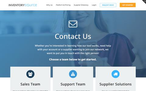 Screenshot of Contact Page inventorysource.com - Contact Inventory Source - captured Sept. 22, 2018