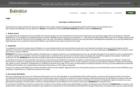 Screenshot of Terms Page barbadillo.com - Legal | Barbadillo - captured Oct. 3, 2018