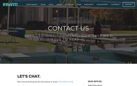 Screenshot of Contact Page eevm.org - Contact — EEVM - captured Sept. 28, 2018
