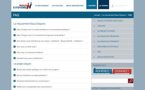 Screenshot of FAQ Page nouscitoyens.fr - Nous Citoyens - FAQ Nous Citoyens - captured Sept. 19, 2016