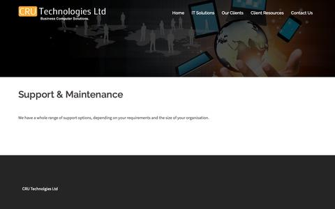 Screenshot of Support Page cru-technologies.co.uk - Support & Maintenance - CRU Technologies Ltd - captured Nov. 10, 2018