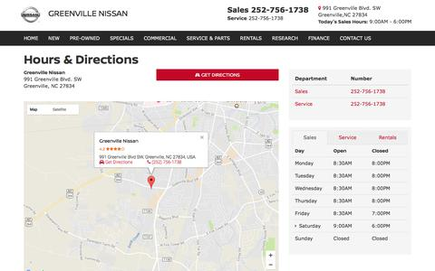 Screenshot of Hours Page greenvillenissan.com - Hours | Directions | Hours Of Operation | Greenville Nissan - captured Sept. 24, 2017