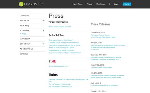 Screenshot of Press Page learnvest.com - Press | LearnVest - captured Dec. 17, 2014