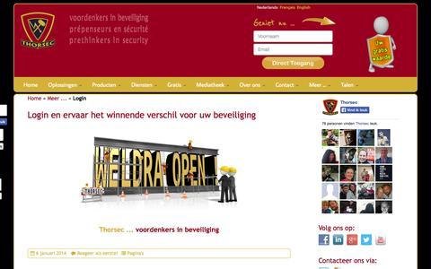 Screenshot of Login Page security4outdoors.com - Login en ervaar het winnende verschil voor uw beveiliging - captured Oct. 1, 2014
