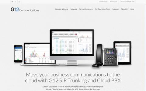 Screenshot of Home Page g12com.com - G12 Communications | Enterprise VoIP - captured Sept. 25, 2018