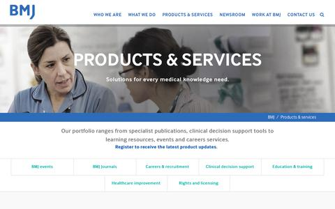 Screenshot of Services Page bmj.com - Products & Services | BMJ - captured Jan. 24, 2017