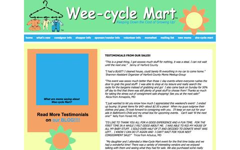 Screenshot of Testimonials Page wee-cyclemart.com - Testimonials from Wee-cycle Mart - captured Oct. 1, 2014