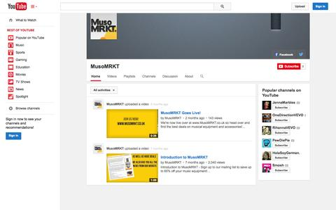 Screenshot of YouTube Page youtube.com - MusoMRKT  - YouTube - captured Oct. 26, 2014