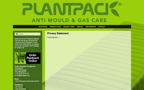Screenshot of Privacy Page plantpack.net - Privacy Statement - Green Mountain Europe B.V. - captured Sept. 30, 2014