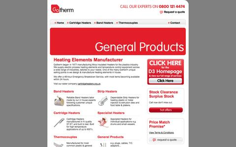 Screenshot of Home Page gotherm.ltd.uk - Cartridge Heaters, Fire Sticks, Strip Heaters, Drum Heaters, Mica Heaters and Band Heaters - captured Oct. 3, 2014
