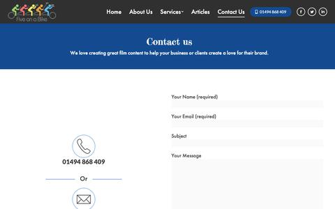 Screenshot of Contact Page fiveonabike.com - Contact Us - captured Oct. 10, 2018