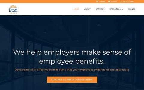 Screenshot of Home Page premierbenefitsnd.com - Premier Benefits Group - Employee Benefit Plan Design in ND & MN - captured Sept. 24, 2018