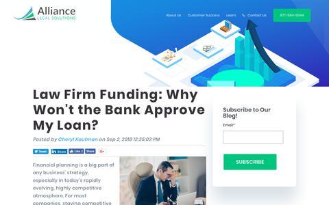 Screenshot of Blog alliancelegalsolutions.com - Law Firm Financing Blog | Alliance Legal Solutions - captured Nov. 6, 2018