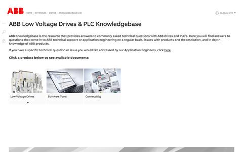 Screenshot of Support Page abb.com - Knowledgebase (US)   ABB - captured Nov. 9, 2019