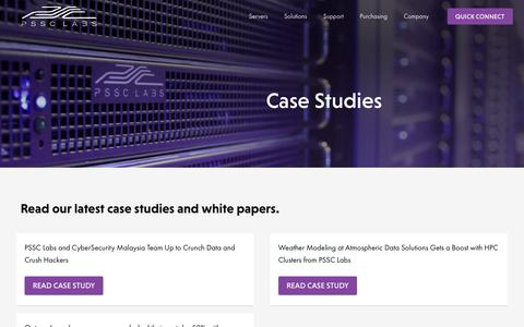 Screenshot of Case Studies Page pssclabs.com - Official PSSC Labs Case Studies page - captured April 27, 2018