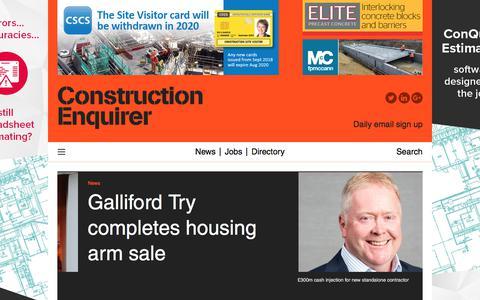 Screenshot of Home Page constructionenquirer.com - Construction Enquirer - captured Jan. 3, 2020