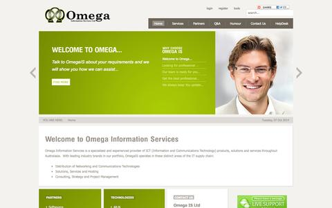 Screenshot of Home Page omegais.co.nz - Welcome to Omega Information Systems - captured Oct. 6, 2014