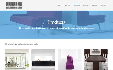 Screenshot of Products Page vcoffices.com - Products | Vangard Concept Offices - captured Oct. 1, 2014