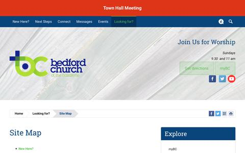 Screenshot of Site Map Page bcn.org - Bedford Church of the Nazarene | Site Map - captured Nov. 13, 2018