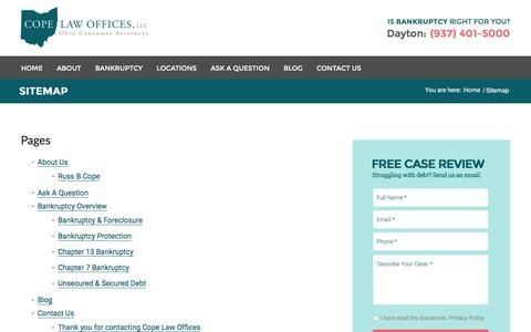 Screenshot of Site Map Page copelawoffices.com - Sitemap - Dayton, Ohio Bankruptcy Attorneys - Cope Law Offices - captured Dec. 12, 2015