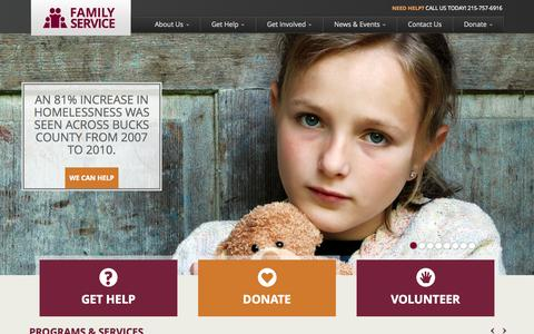 Screenshot of Home Page fsabc.org - Family Service - captured Oct. 5, 2014