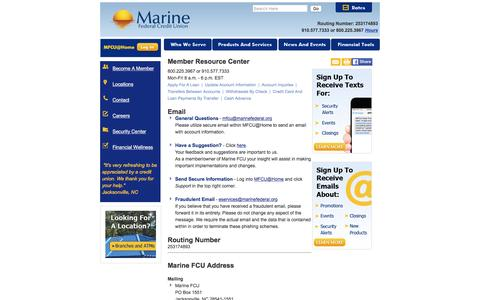 Screenshot of Contact Page Hours Page marinefederalhb.org - Marine Federal Credit Union - captured Nov. 19, 2016