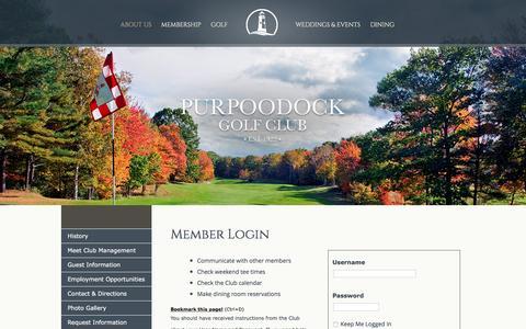 Screenshot of Login Page purpoodock.com - Purpoodock ClubMember Login - captured June 13, 2016