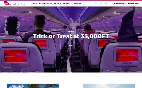 Screenshot of Blog virginamerica.com - Virgin America Blog Home   Virgin America Blog - captured Dec. 10, 2016