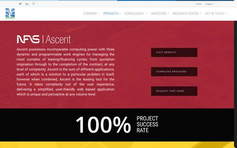Screenshot of Products Page netsoltech.com - Products   NFS Ascent &  NFS Mobility   NetSol Technologies - captured Jan. 18, 2016